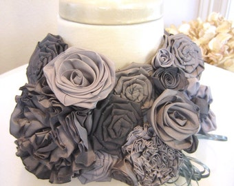 Gray bib statement necklace -- French ribbon flowers in gray hues -- shades of gray that won't tie you up