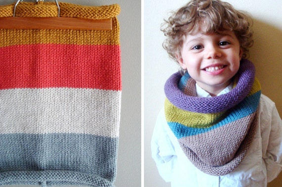 kids knit cowl in HONEY and SILVER GREY (vegan friendly, ooak)