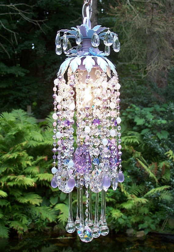 Jeweled Blue Violet Petite Waterfall Chandelier