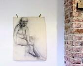 Large Antique Art School Charcoal Sketch  - 1930s - Nude