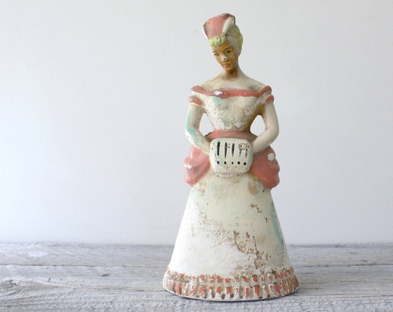 Antique Chalkware Girl with Muff and Bustle
