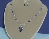 Sapphire & Blue Pietersite Necklace with Earrings
