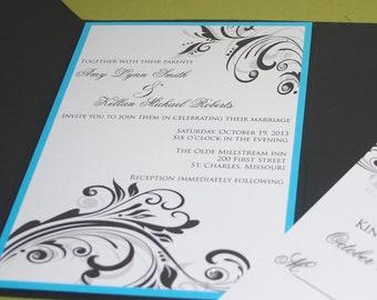 Personalized Wedding Invitations Elegant Swirls & Rhinestones (SAMPLE ONLY)