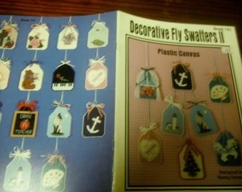 Fly Swatter Covers Plastic Canvas Patterns Decorative Fly-Swatters II Kount on Kappie Book 151 Plastic Canvas Pattern Leaflet Nancy Dorman