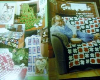 Granny Square Crochet Pattern Leaflet Granny Chic American School of Needlework 1290 Crocheting Pattern Folder