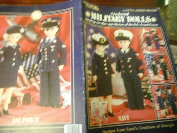 Crocheted Fashion Doll Clothes Military Dolls Leisure Arts 2245 Crochet Pattern Leaflet to fit Barbie Doll