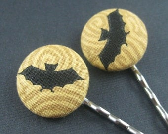 Bat Bobby Pins - Halloween Fabric Covered Buttons