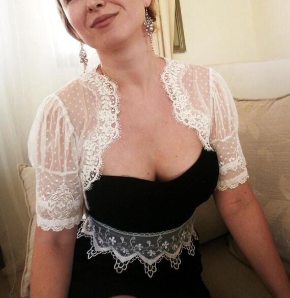 LOVE DOTS Bridal white lace bolero jacket wedding shrug bridal shrug wedding bolero jacket