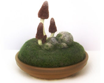 Brown Gnome Mushrooms Home Decor Mycology Pincushion Nature Scene Made to Order