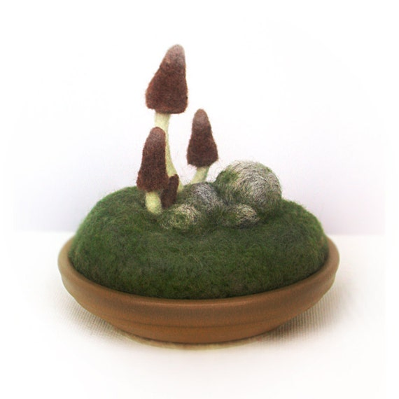 Brown Gnome Mushrooms Pincushion Scene Made to Order