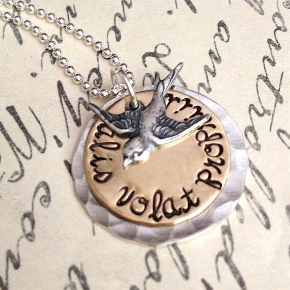 Hand Stamped Necklace - She Flies With Her Own  Wings - Alis volat propriis - Latin quote necklace - bird necklace