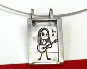 Guitarist girl- Slider pendant-sterling silver