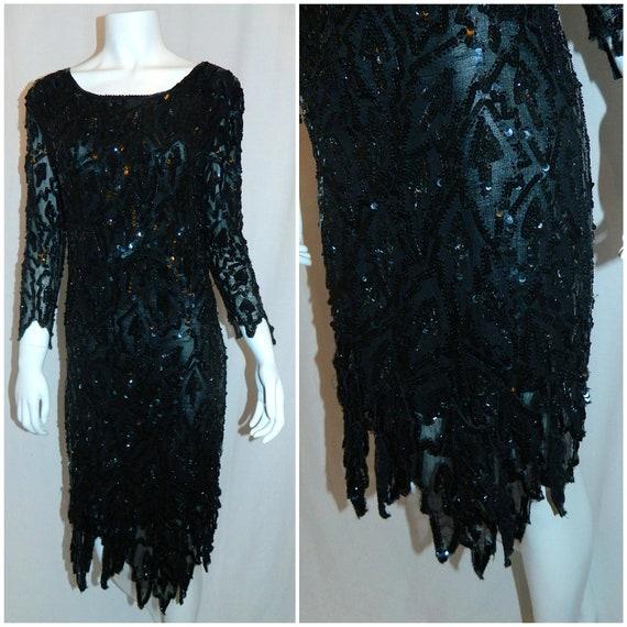 vintage 1980s black sequin dress LBD cocktail dress XS S