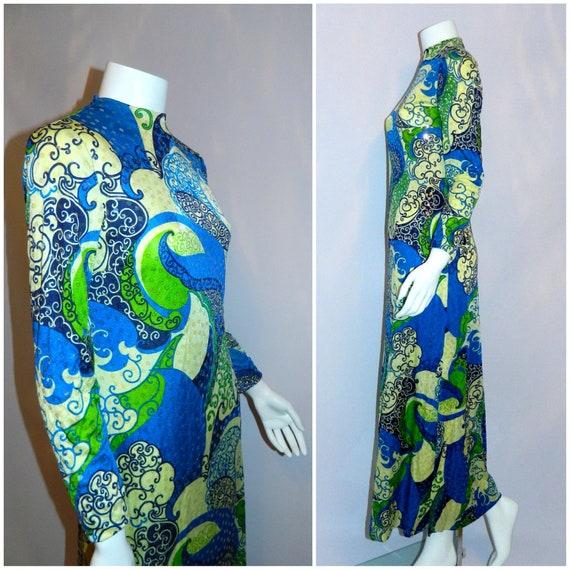 vintage 1960s dress blue gown sequin swirls Anne Fogarty