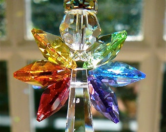 "Rainbow Angel Swarovski Crystal Suncatcher,  Rainbow Wings - For  Home/Car, Guardian Angel - ""HOPE"",  3 Lengths, Heartstrings by Morgan"