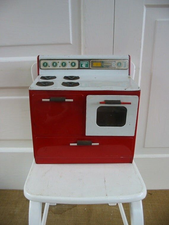 RESERVED.....Metal Toy Stove Children Girl Red Retro Kitchen