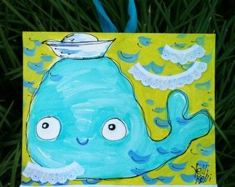 SALE Cute Baby Whale Original Collage Painting Nursery Art