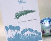 California Skyline Holiday / Christmas Folded Card- Set of 10