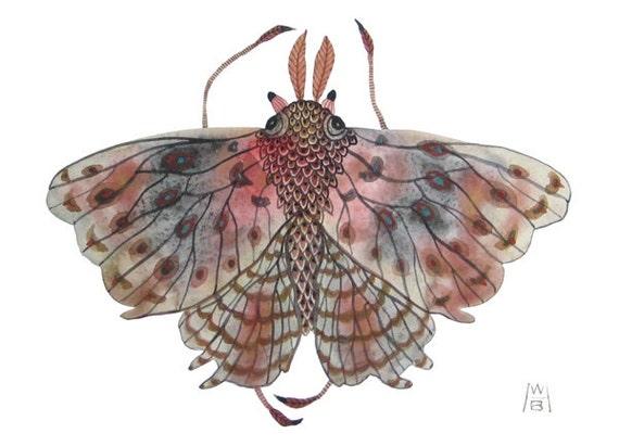 Giant moth original watercolor painting