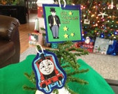Upcycled Thomas The Train Fabric Christmas Ornament (not a licensed product)