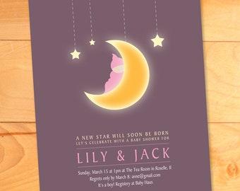Baby Shower Invitation, Moon, Stars, Custom, Modern Baby Shower Invites