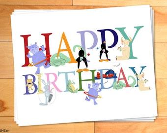 Childrens Happy Birthday Cards, Animal Alphabet, ABCs, Thank You Notecards - Set of 12