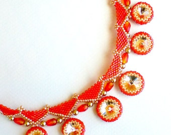 Rivoli Crystal Beadwoven Necklace Orange Tangerine Tango Unique Beaded Beadwork Beadweaving Jewelry