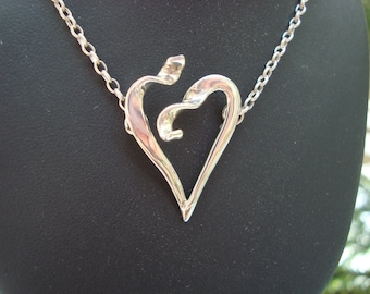 Handmade Sterling Silver Heart That Is Open Pendant and Necklace