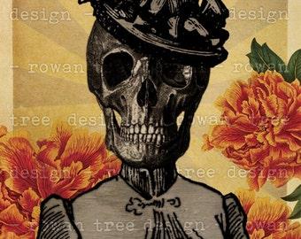 Printable Art CALAVERA CATRINA Skeleton Lady 4x6in Digital Collage - no. 0184