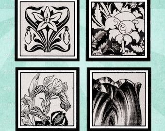 BLACK & WHITE FLORAL Digital Collage Sheet 1.5in or 1in Squares - no. 0193