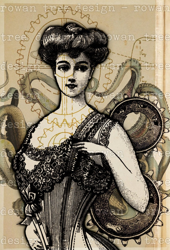 Steampunk Sweetheart Printable Art 4x6in Digital Collage No