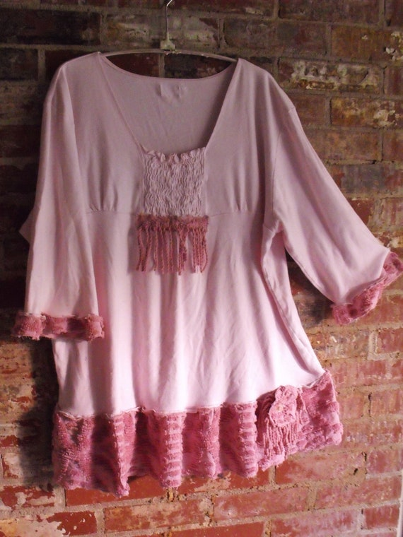 Plus Size Soft Pink Knit, Rose Vintage Chenille, Fringey, Funky Rose Pin, Sweet Darling Tunic