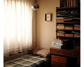 Warm Bedroom and Books - 8x8 Fine Art Photography Print - Natural Light Interior Photography
