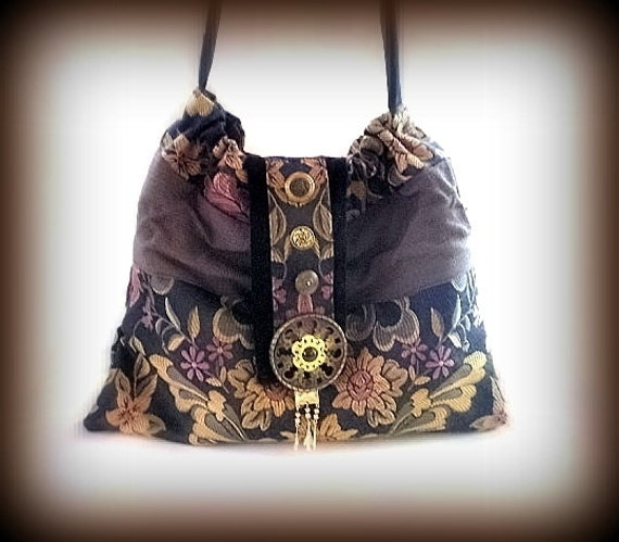 15% COUPON SALE, boho, Hobo, purse, tapestry, slouch bag, tote, hip bag, gypsy, plum, moss green, soft gold, brass