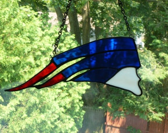 New England Patriots inspired Stained  Glass Light catcher