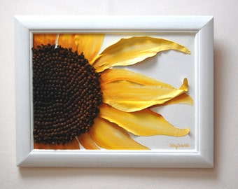 Sunflower Painting - Mixed Media Original Constructed in Fabric and Linen String