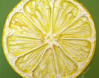 Lemon Painting - Textured Original Painting String Art Mixed Media Wall Art