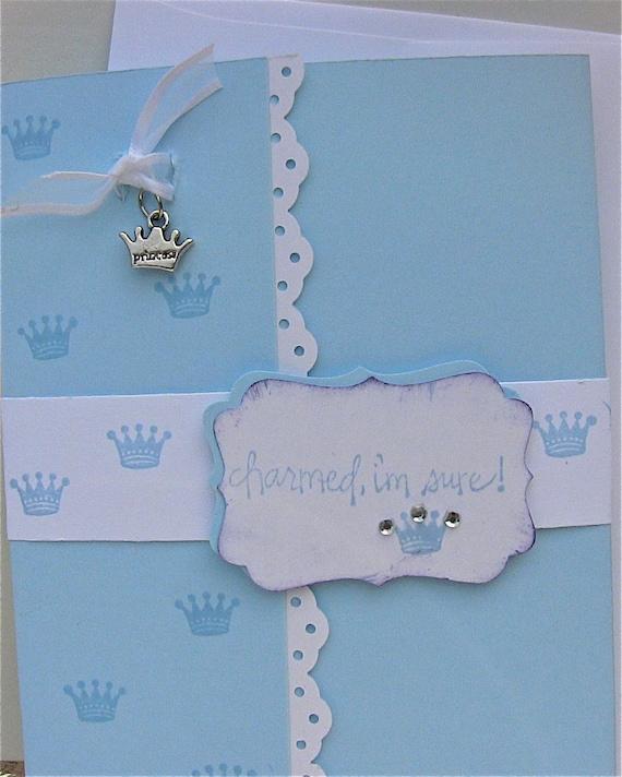 Princess Card with Crown  Charm, Whimsical Princess Charm, Handmade Card