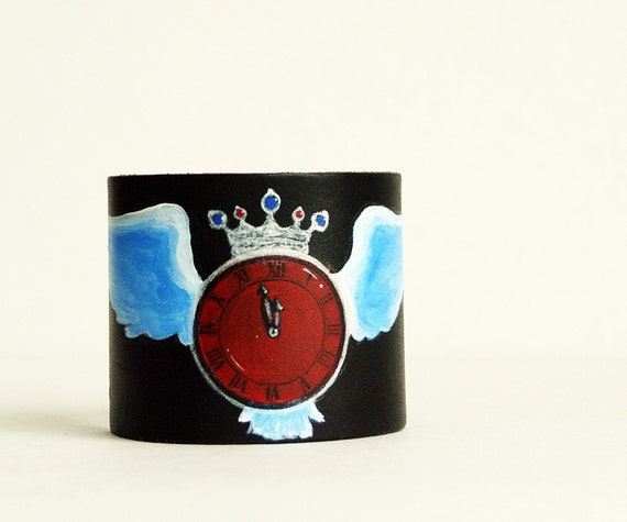 Painted Leather Cuff Bracelet- Time Flies-Red and Black-Rockabilly Punk