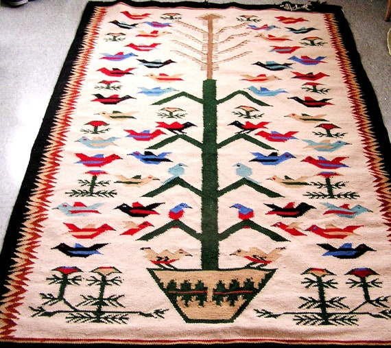 Vintage Navajo Style Flower and Bird Tree of Life Rug 4 X 6 Feet