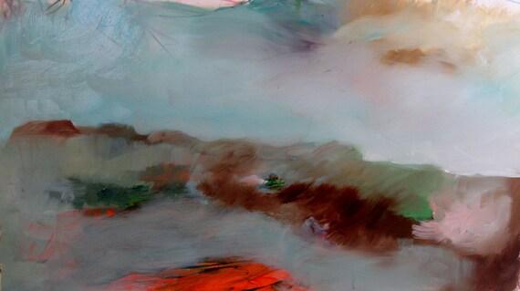Landscape, Original oil painting on paper 10 x20