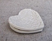 Two Heart Dishes in Porcelain with White Glaze