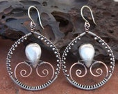 Brushed Sterling Silver and Copper Wire Wrapped Hoops