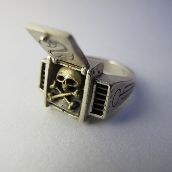 Steampunk silver ring SECRET SKULL ring with bronze skull and cross bones inset Size 8 US