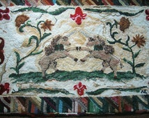 "handmade primitive 32"" x 50"" unicorns tulip wool hooked rug One of a kind......."