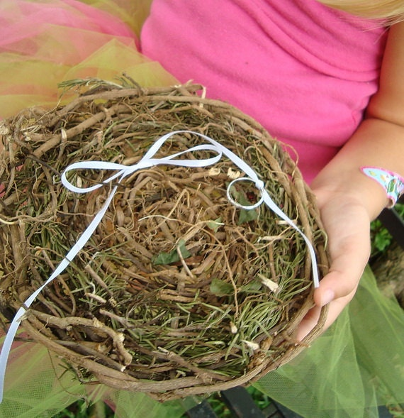 Rosemary for Remembrance Ring Bearer Pillow Earthy Natural Basket Vine Tray Ready to Ship Ivy