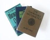 Vintage Math Books - Set of Three Teal and Beige