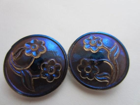 Vintage Buttons Czech pressed glass 2 cobalt blue floral matching  iridescent (lot 2307)