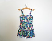 vintage 50s Floral Purple Pink and Blue Bombshell Summer Playsuit