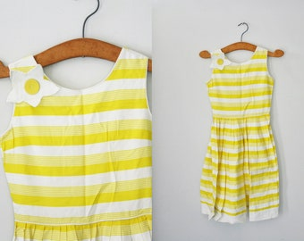 SALE vintage 60s Just Like A Sunny Day Striped Lemon Yellow Dancing Dress